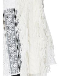 Sacai White Lace Trim Fringed Cable Knit Skirt