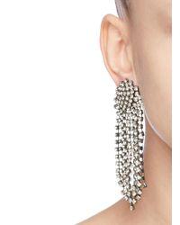 Kenneth Jay Lane Metallic Crystal Waterfall Clip-on Earrings