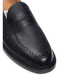 Thom Browne Black Pebble Grain Leather Penny Loafers