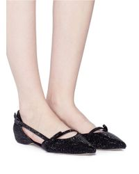 Pedder Red - Black 'kelly' Strass Strappy Suede D'orsay Flats - Lyst