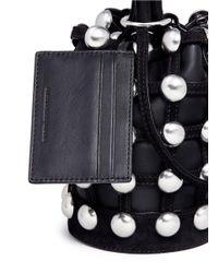 Alexander Wang Black 'roxy' Round Stud Mini Caged Leather Bucket Bag