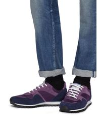 Spalwart Blue 'marathon Trail Low' Suede Panel Knit Sneakers for men