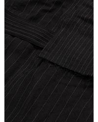 The Viridi-anne - Black Belted Hooded Pinstripe Panel Wool-linen Coat for Men - Lyst