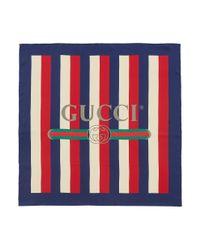 Gucci Multicolor Logo Print Stripe Silk Twill Scarf