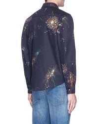 Valentino Blue Fireworks Print Shirt Jacket for men