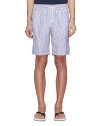Vilebrequin Blue Stripe Linen Cargo Shorts for men