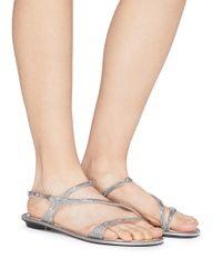 Rene Caovilla Metallic Strass Satin Sandals
