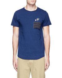 FDMTL Blue Pen Slot Patch Hummingbird Embroidered T-shirt for men
