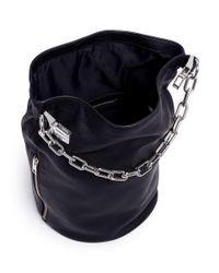 Alexander Wang Black 'attica Dry Sack' Chain Handle Leather Bucket Bag