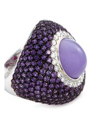 Roberto Coin Metallic Diamond Amethyst Jade 18k Gold Ring