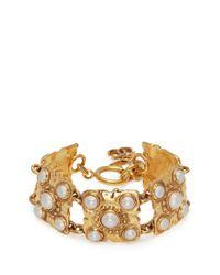 Chanel | Metallic Faux Pearl Sqaure Link Bracelet | Lyst