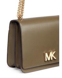 Michael Kors Green 'mott' Large Curb Chain Leather Shoulder Bag