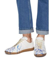 Maison Margiela - White 'replica' Paint Splatter Leather Sneakers - Lyst