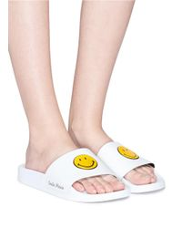 Joshua Sanders White Smiley® Rubber Slide Sandals