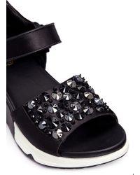 Ash Black Lotus' Embellished Satin Sneaker Sandals