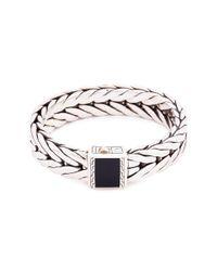 John Hardy - Metallic Onyx Silver Weave Effect Link Chain Bracelet - Lyst
