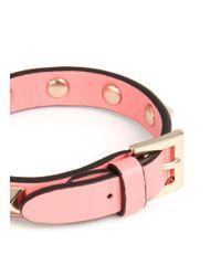 Valentino - Pink 'rockstud' Skinny Leather Bracelet - Lyst