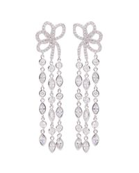CZ by Kenneth Jay Lane - Metallic Bow Fringe Drop Earrings - Lyst