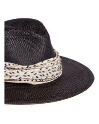 Janessa Leone Black 'josephine' Bandana Panama Straw Fedora Hat