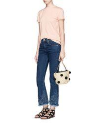 Rebecca Minkoff Blue Pompom Paper Straw Bucket Bag