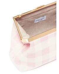Mansur Gavriel - Pink 'mini Volume' Gingham Check Canvas Clutch - Lyst