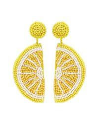 Kenneth Jay Lane - Yellow Beaded Lemon Slice Drop Earrings - Lyst