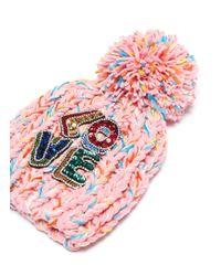 Venna Pink 'love' Embellished Slogan Pompom Knit Beanie