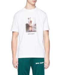 Palm Angels White 'burning' Print T-shirt for men
