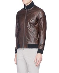 Isaia Brown Reversible Padded Leather Jacket for men