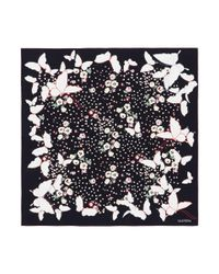 Valentino Black Butterfly Floral Print Silk Twill Scarf