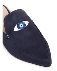 Stuart Weitzman Blue 'eyelove' Evil Eye Appliqué Suede Mules