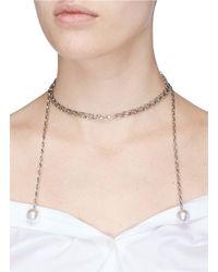 Joomi Lim - Metallic Swarovski Pearl Chain Lariat Necklace - Lyst