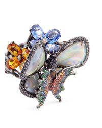 Wendy Yue - Metallic Diamond Sapphire Opal Tsavorite 18k White Gold Butterfly Ring - Lyst