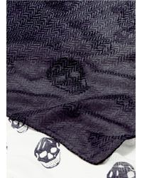 Alexander McQueen Gray Skull Print Herringbone Ombré Scarf