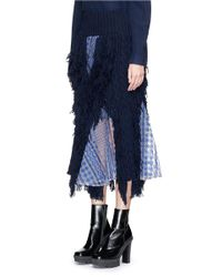 Sacai Blue Lace Trim Fringed Cable Knit Skirt