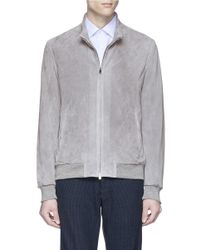 Isaia Gray Perforated Suede Jacket for men