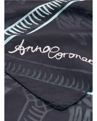 Anna Coroneo | Blue 'palm Tree In Bella' Print Silk Scarf | Lyst