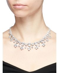 CZ by Kenneth Jay Lane - White Cubic Zirconia Floral Fringe Necklace - Lyst