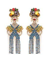 Elizabeth Cole Multicolor 'chiquita' Swarovski Crystal Woman Drop Earrings