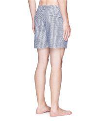 Orlebar Brown Blue 'bulldog Laguna' Geometric Print Swim Shorts for men