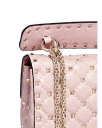 Valentino Pink 'rockstud Spike' Small Quilted Leather Crossbody Bag