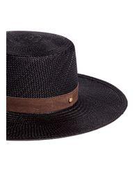 Janessa Leone Black 'lina' Suede Band Panama Straw Boater Hat
