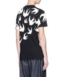 McQ Alexander McQueen Black 'swallow Swarm' Print T-shirt for men