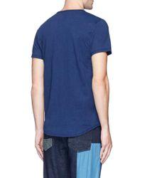 FDMTL Blue Hummingbird Embroidered Sashiko Pocket T-shirt for men
