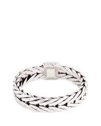 John Hardy - Metallic Diamond Silver Weave Effect Link Chain Bracelet - Lyst