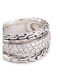 John Hardy - Metallic Diamond Silver Chain Effect Three Row Ring for Men - Lyst