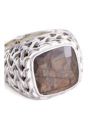 John Hardy - Metallic Sapphire Silver Chain Effect Signet Ring - Lyst