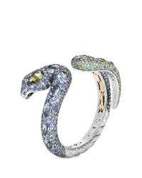 John Hardy - Metallic Diamond Gemstone 18k Yellow Gold Silver Swirl Cuff - Lyst