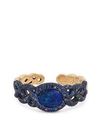 John Hardy | Metallic Diamond Opal Gemstones 18k Yellow Gold Braid Effect Cuff | Lyst