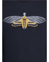 Alexander McQueen Black Skull Moth Embroidery Sweatshirt for men